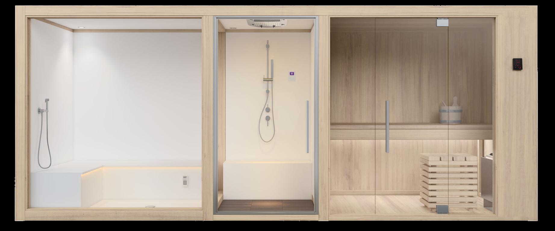 Monoblocco con sauna, doccia e bagno turco