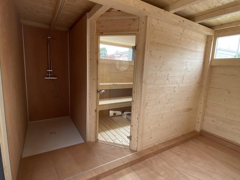 casetta con sauna a legna